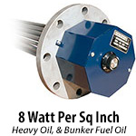 8 watts per sq. inch - Heavy Oils, Bunker C Fuel Oil