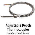 Adjustable Depth Thermocouples - Stainless Steel Armor