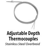 Adjustable Depth Thermocouples - Stainless Steel Overbraid