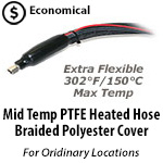 PTFE Heated Hose - Braided Polyester Cover - 302F/150C