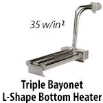 Metal Triple Bayonet L Shape Over The Side Heaters