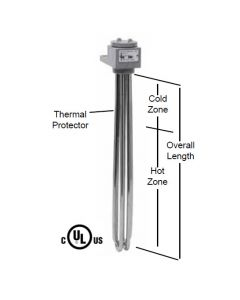 "3 Element Tubular Heater - 3000 watt - 11"" Hot Zone - 17"" Overall Length"