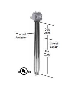 "3 Element Tubular Heater - 4500 watt - 16"" Hot Zone - 23"" Overall Length"