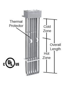 "2000 watt 6 Element PTFE Heater - 9"" Hot Zone - 17"" Overall Length"