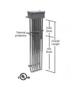 "6 Element Tubular Heater - 6000 watt - 10"" Hot Zone - 17"" Overall Length"