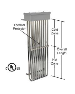 "9 Element Tubular Heater - 9000 watt - 10"" Hot Zone - 17"" Overall Length"
