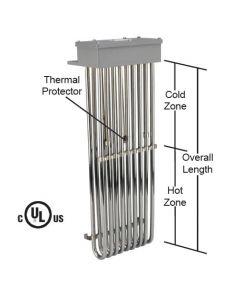 "9 Element Tubular Heater - 31500 watt - 25"" Hot Zone - 34"" Overall Length"