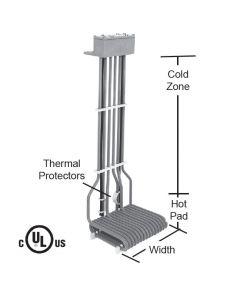 """4500 watt L shape 3 element PTFE Bottom Heater - 11"""" Hot - 18"""" Overall"""