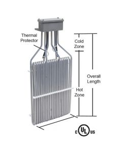 """1500 watt O shape 3 element PTFE Heater - 6"""" Hot - 11"""" Overall"""