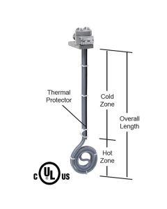 "500 watt PTFE Low Profile Heater - 6"" Diameter - 14"" Overall Length"