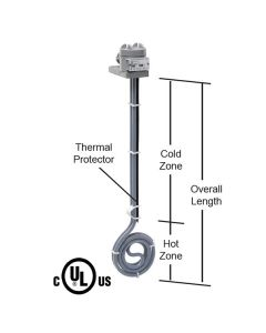 "1000 watt PTFE Low Profile Heater - 7"" Diameter - 14"" Overall Length"