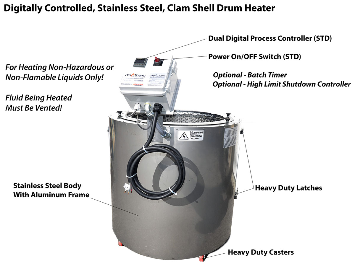 Clamshell Drum Heaters - Digital Temperature Controlled