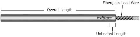 cartridge heater with fiberglass leads